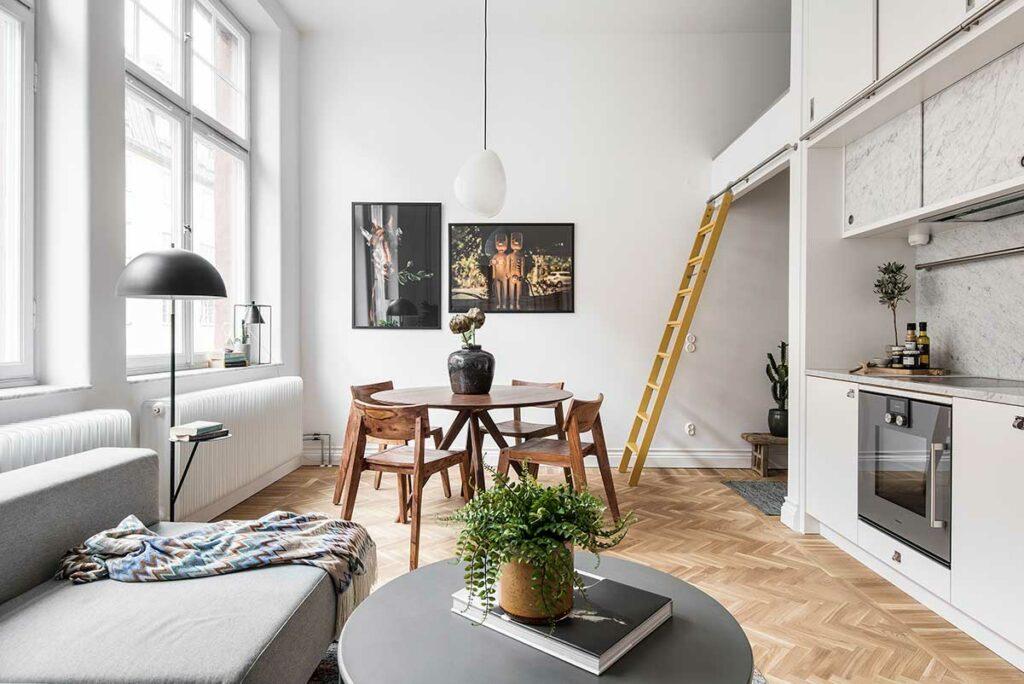 Loft, kök, vardagsrum i ett